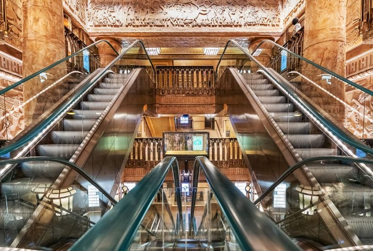 Harrods London inside photo of the lifts, Interior photography