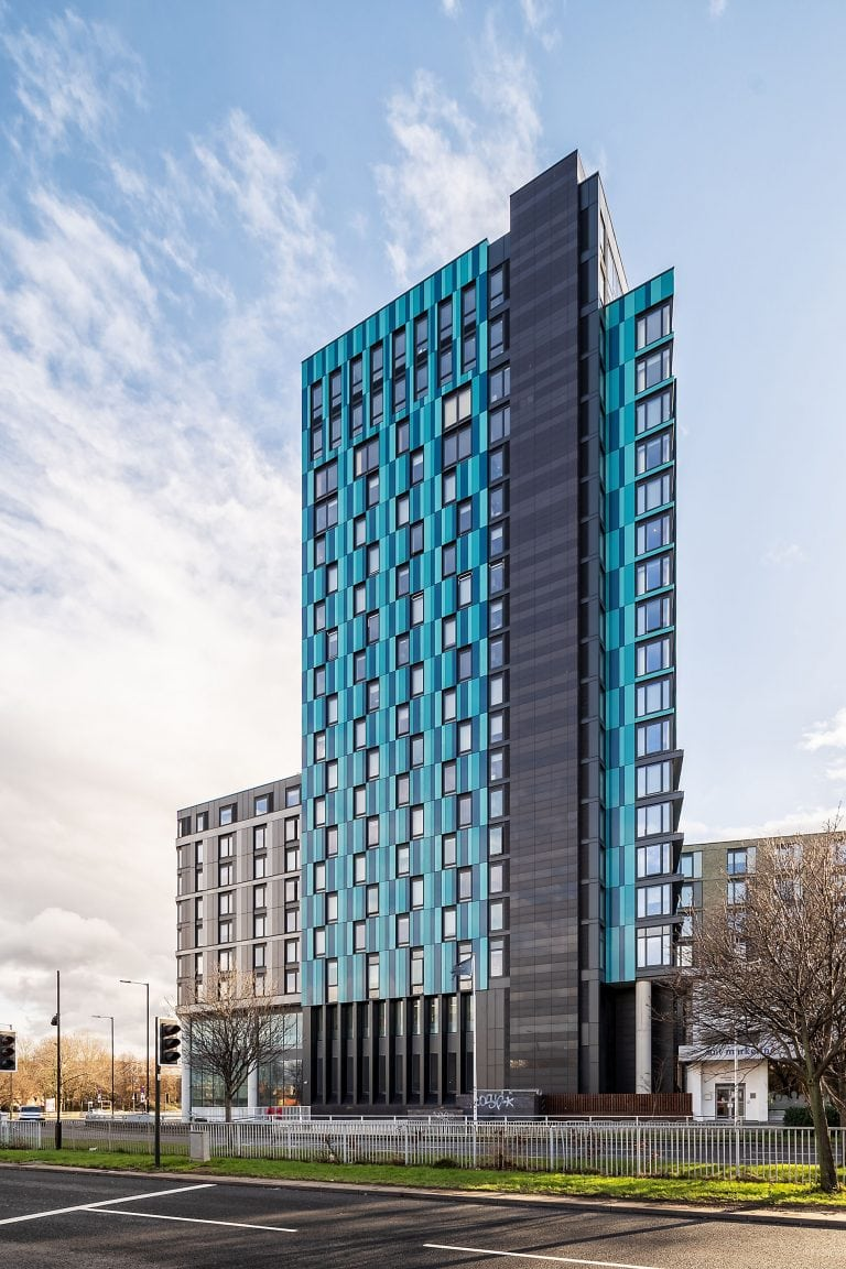 high rise apartments in sheffield, exterior architectural photography by Ben Harrison photography