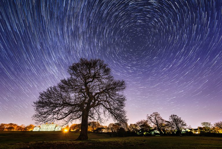 astrophotography photo of star trails in yorkshire