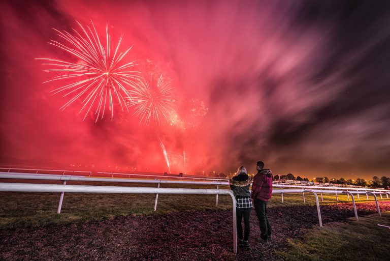 landscape photo of fireworks over the doncaster racecourse