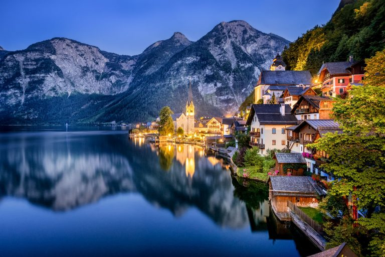 landscape photo of hallstatt at night in austria