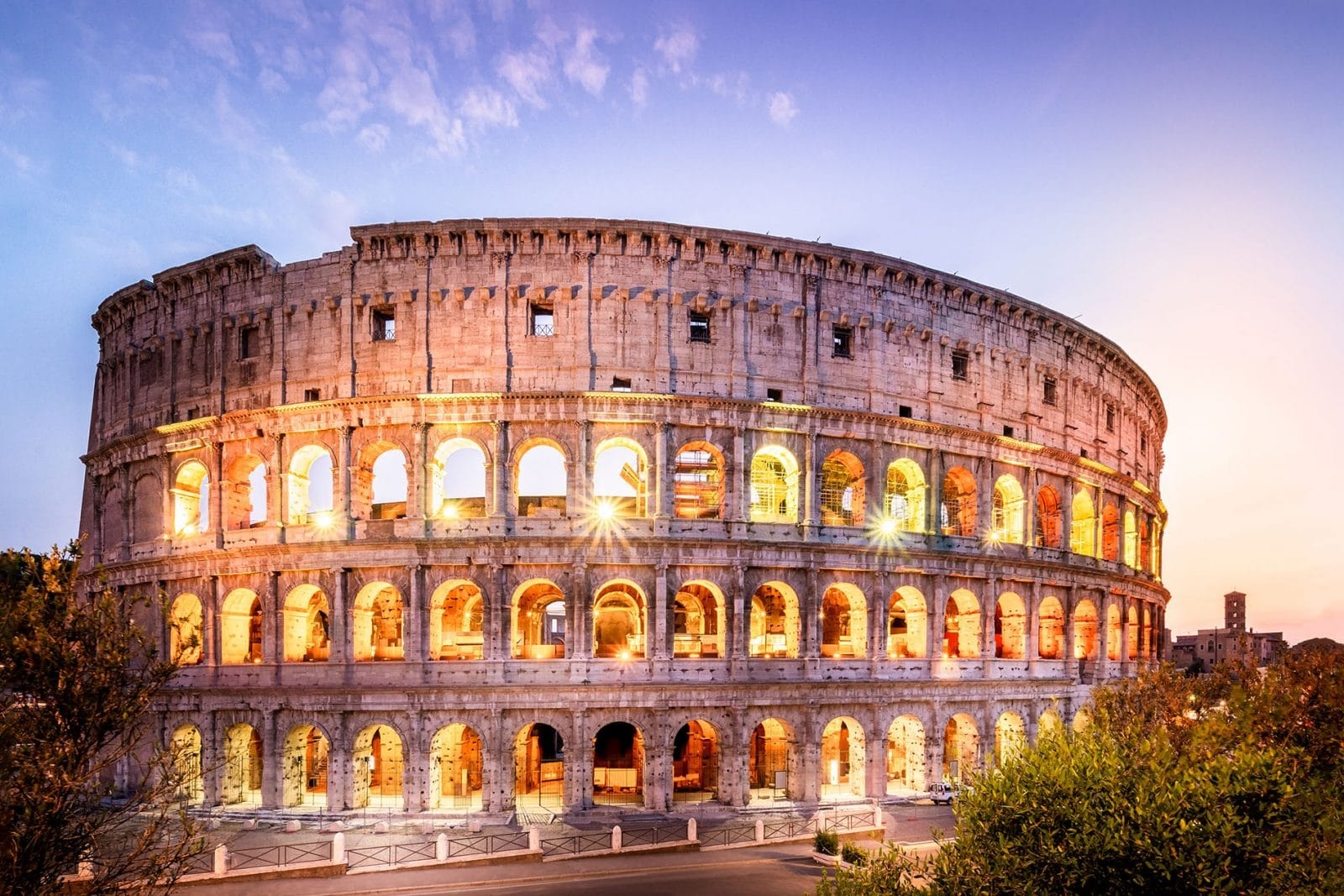 best photo of colosseum rome at sunset and blue hour