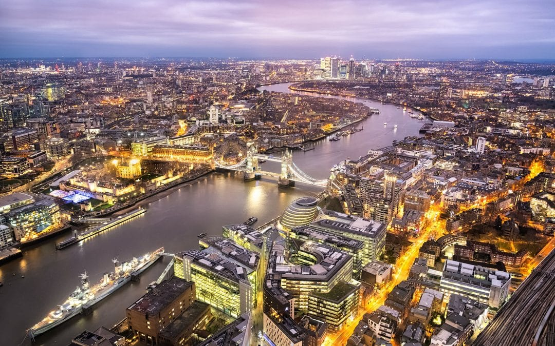 The view from the Shard in London