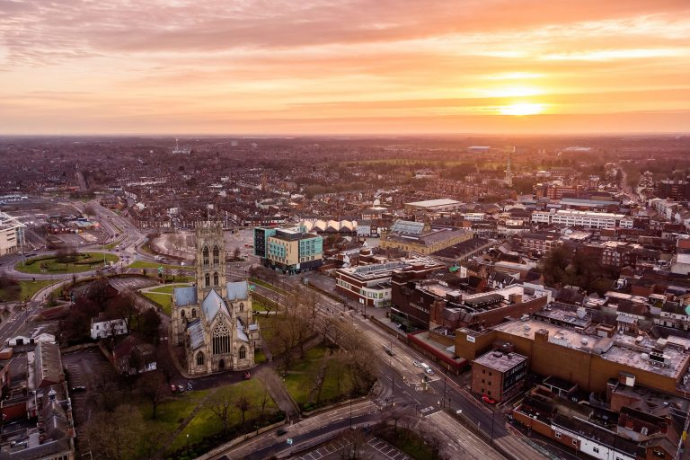 doncaster drone photo st georges church