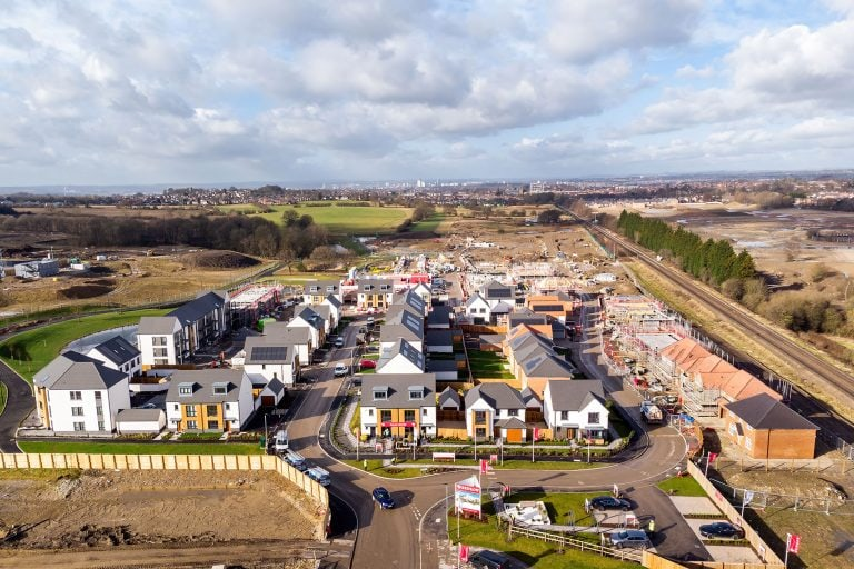 new build houses drone aerial photo